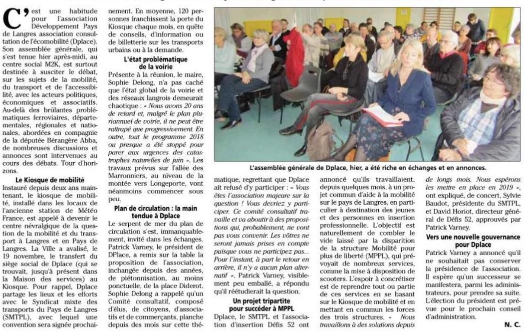 Assemblée générale de l'association DPlace à Langres