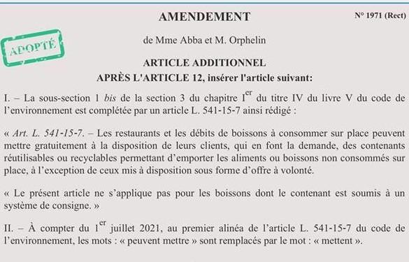 "27/05/2018 Amendement ""doggy bag"" adopté"