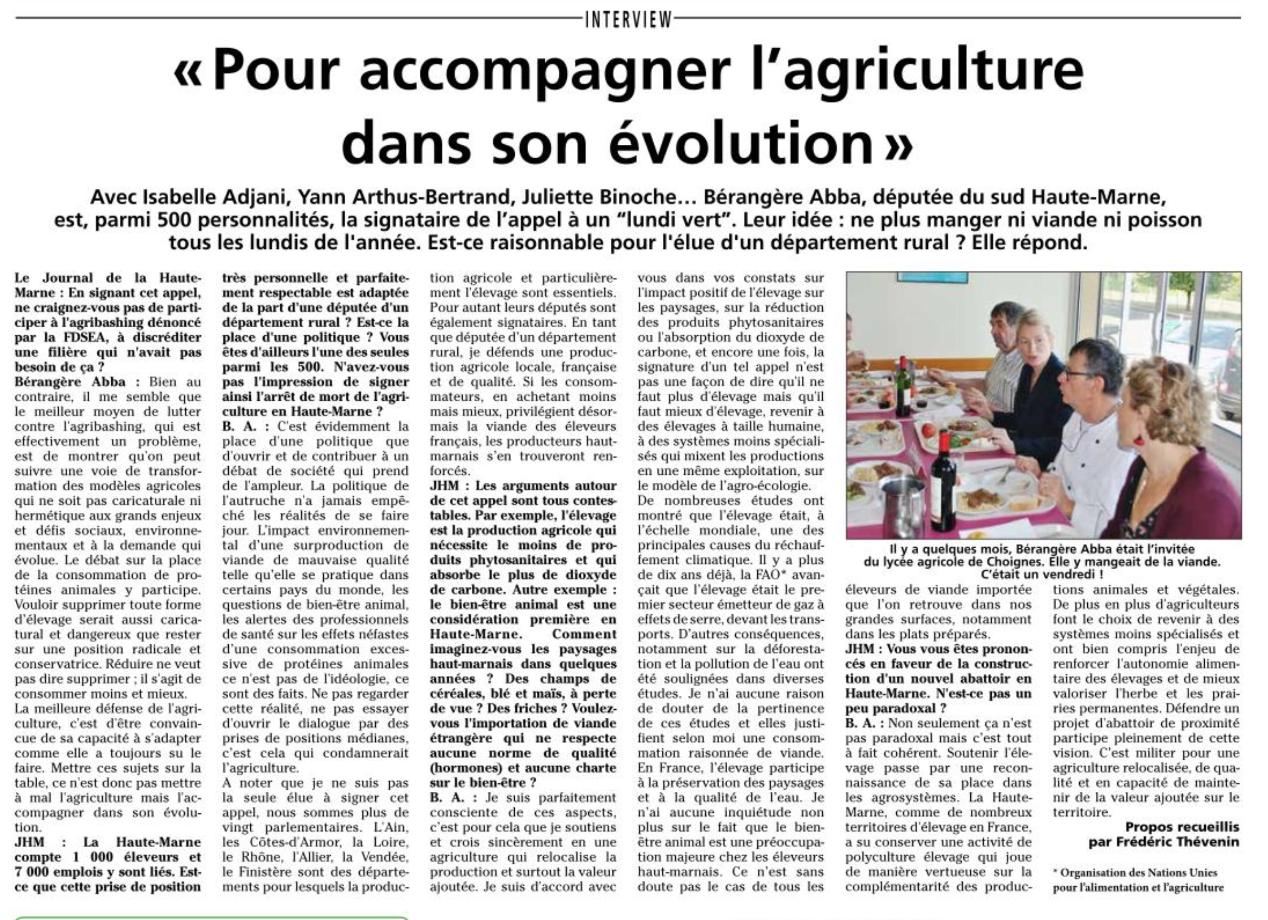 Interview publiée dans le Journal de la Haute-Marne